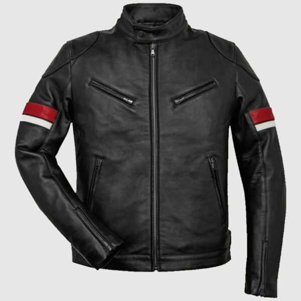 Black Leather Red and White Striped Cafe Racer Jacket