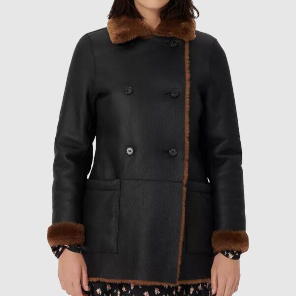 Black Reversible Real Sheep Shearling Coat