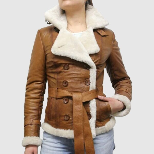 Brown pilot aviator genuine shearling leather jacket for women