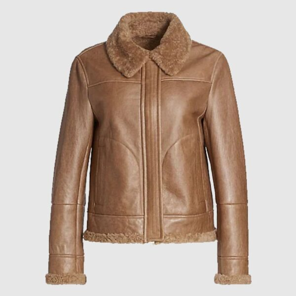 Brunello Cucinelli Shearling-Lined Leather Aviator Jacket
