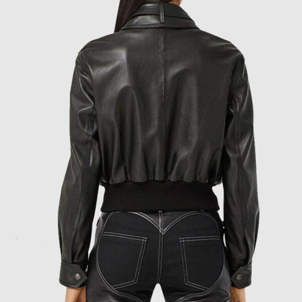 Burberry Leather Blouson-Sleeved Jacket