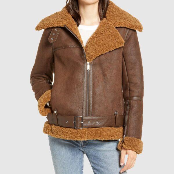 Classic Brown Women Faux Shearling Jacket