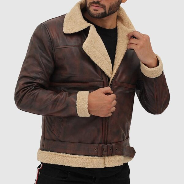 Foligno Brown Distressed Shearling Bomber Leather Jacket
