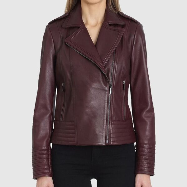 Gia Collared Leather Jacket For Women