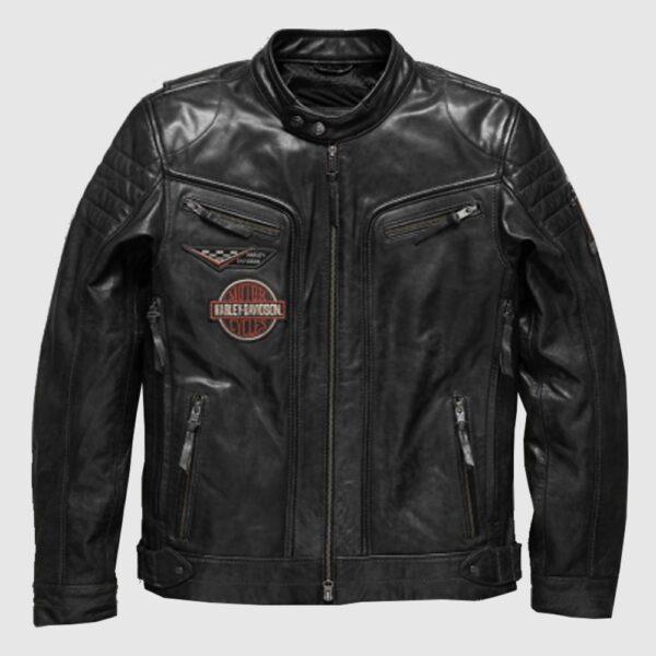 Harley Davidson Men embroidery Eagle Design Natural Leather Jacket
