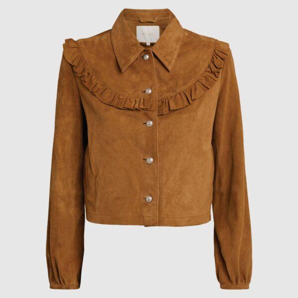 Maje Suede Ruffle-Yoke Jacket