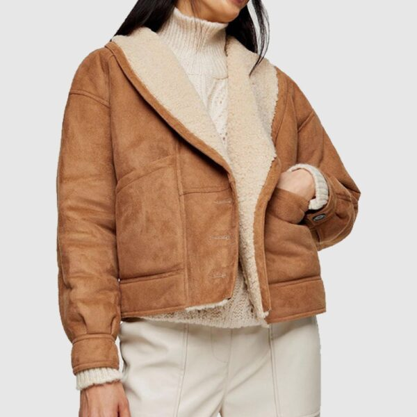 Nutty Brown Faux Shearling Leather Jacket
