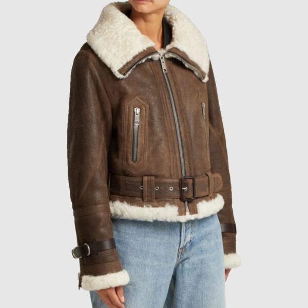 Shearling Aviator Jacket, Leather Flight Jacket, Womens Leather Jacket