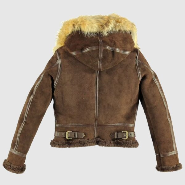 Women B3 Bomber Brown Aviator Hooded Vintage Real Leather Jacket