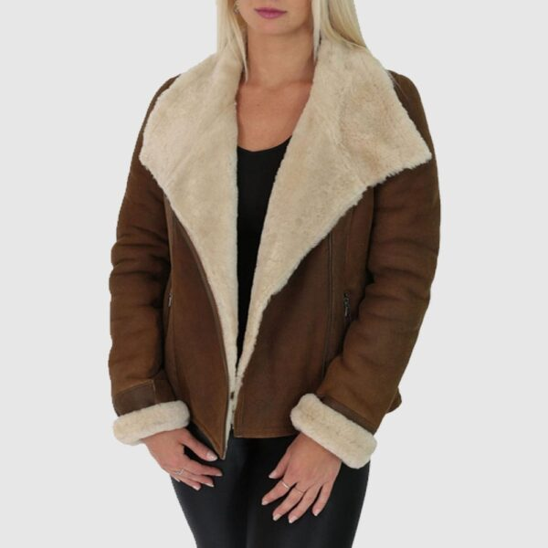 Women Brown B3 Aviator Leather Jacket