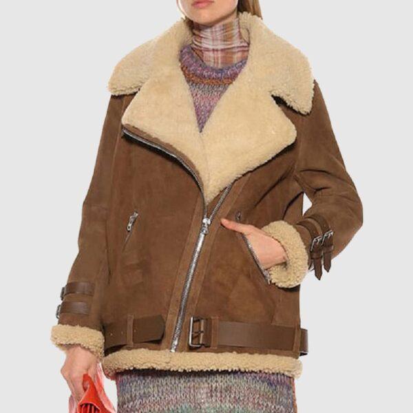 Women Brown Suede Shearling Jacket