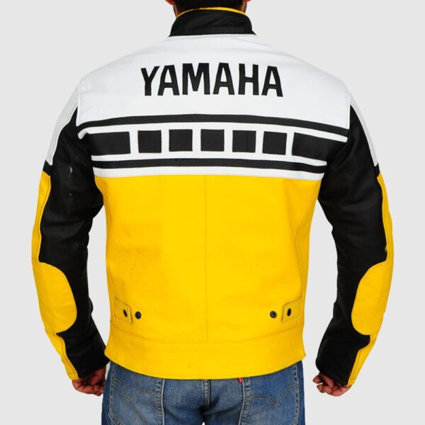 Yellow & White Biker Leather Jacket