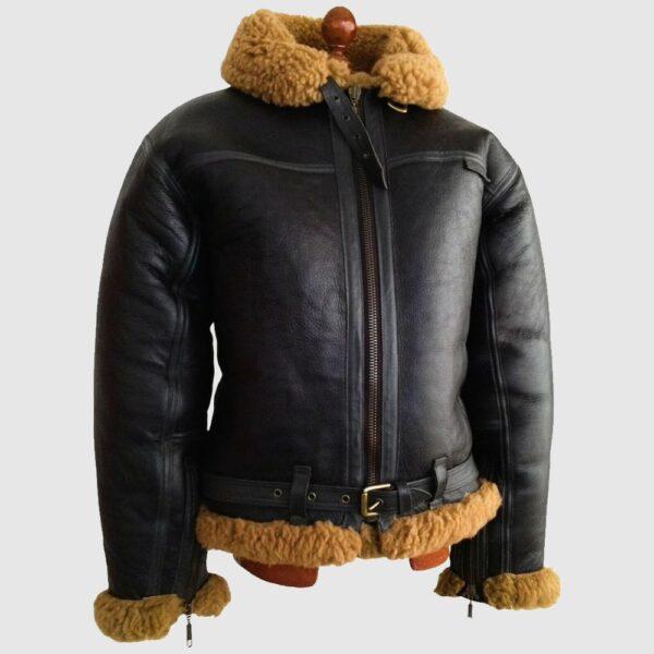 B3 Brown RAF Aviator Flying Bomber Leather Jacket