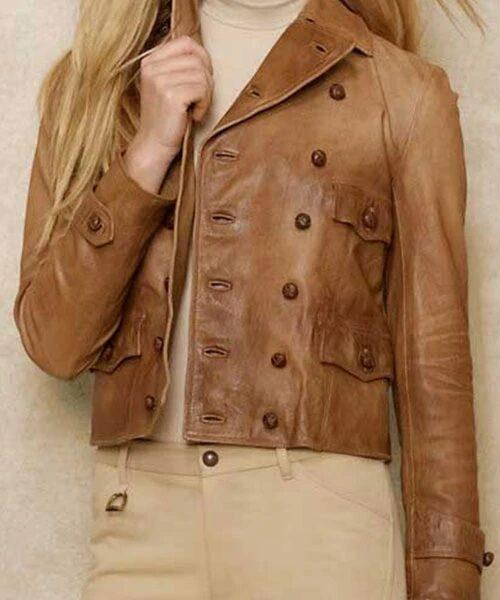 Brown Fashion Leather Jacket Women