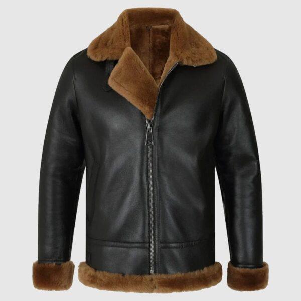 Classic Ginger Brown B3 Bomber Aviator Shearling Jacket