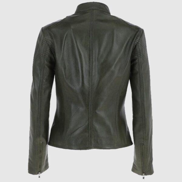 Leather Biker Jacket Women Green
