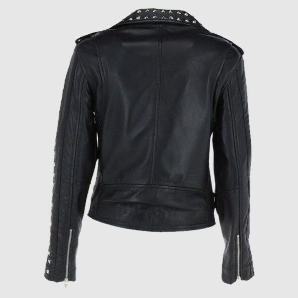 Rock Rebel Leather Studded Biker Jacket Black