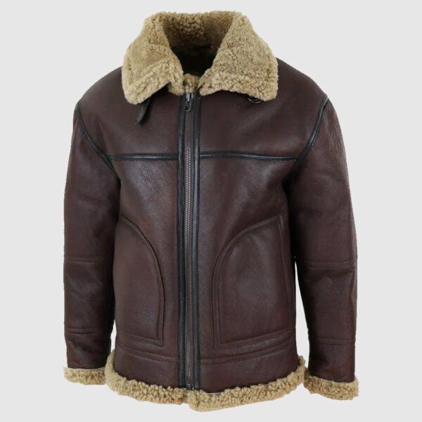 Men's Sheepskin Aviator Genuine fur Real Shearling Leather Jacket