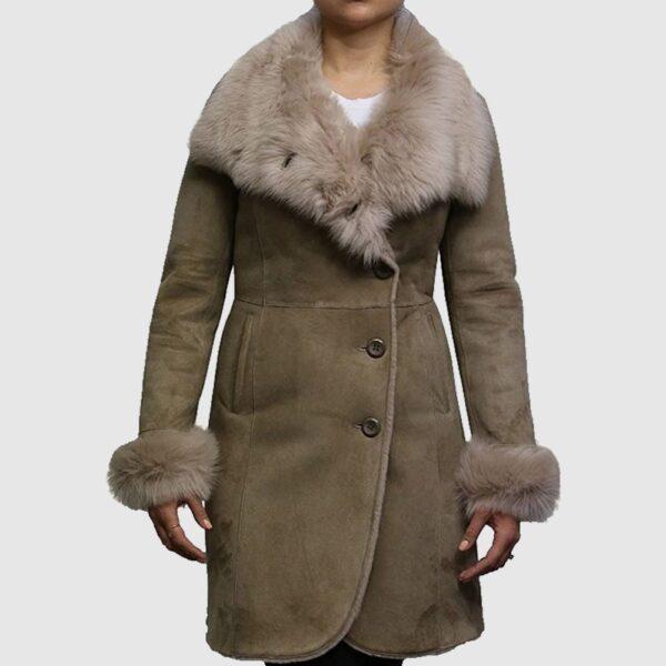Women Shearling Sheepskin Coat Suede Nikita-Beige